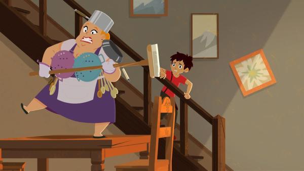 Roberta (links) hat sich gerüstet gegen den Geist.   Rechte: ZDF/Gaumont Animation/PP Animation III Inc.