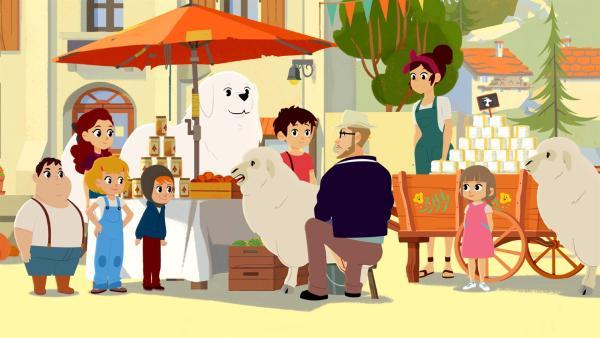 Saint Martin braucht unbedingt mehr Touristen. Ein Reisetester (3. von rechts) besucht das Dorf. | Rechte: ZDF/Gaumont Animation/PP Animation III Inc.