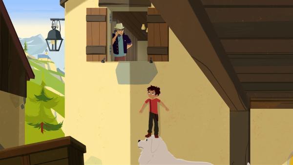 Heimlich hört Sebastian (rechts) wie der Reisetester mit seinem Verlag telefoniert.   Rechte: ZDF/Gaumont Animation/PP Animation III Inc.