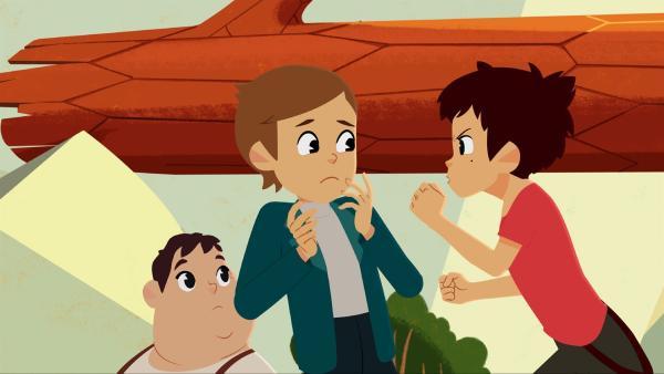 Amadeus (Mitte) bringt Sebastian (re.) zur Weißglut.   Rechte: ZDF/Gaumont Animation/PP Animation III Inc.