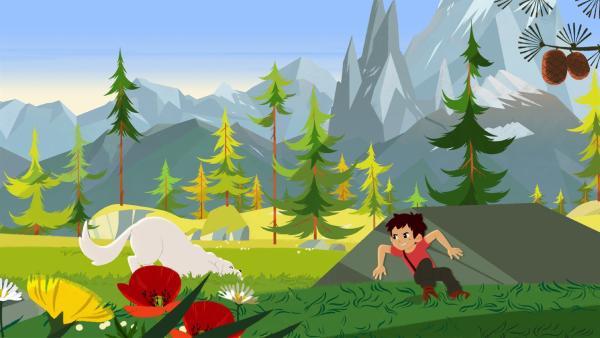 Sebastian (rechts) und Belle (links) spielen Verstecken. | Rechte: ZDF/Gaumont Animation/PP Animation III Inc.