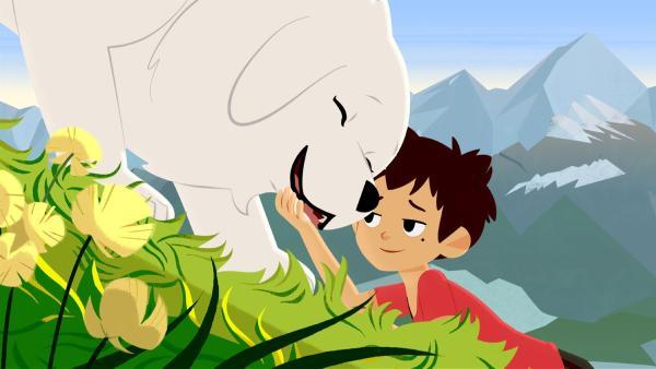 Die Idylle trügt. Sebastian (rechts) weiß noch nicht, dass sich ein Monster in den Bergen herumtreibt. | Rechte: ZDF/Gaumont Animation/PP Animation III Inc.