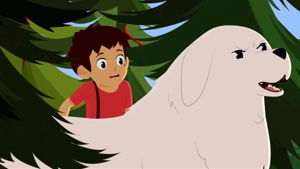 Ein großer Adler greift Sebastian an. Belle verteidigt ihn. | Rechte: ZDF/Gaumont Animation/PP Animation III Inc.