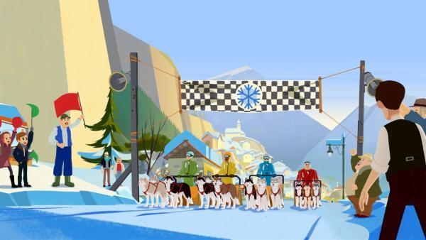 Das große Schlittenrennen beginnt. | Rechte: ZDF/Gaumont Animation/PP Animation III Inc.