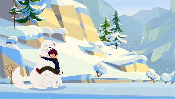 Belle und Sebastian glücklich im Schnee. | Rechte: ZDF/Gaumont Animation/PP Animation III Inc.