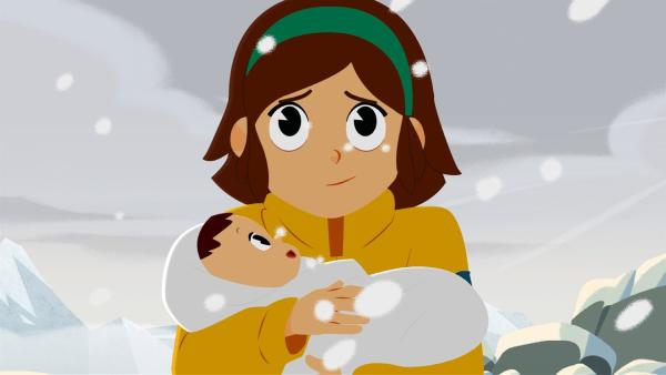 Angelina hält den kleinen Sebastian in den Armen. | Rechte: ZDF/Gaumont Animation/PP Animation III Inc.