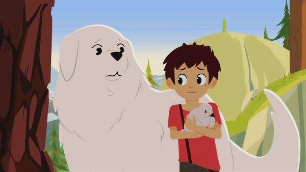 Sebastian hat ein Adlerjunges gefunden.   Rechte: ZDF/Gaumont Animation