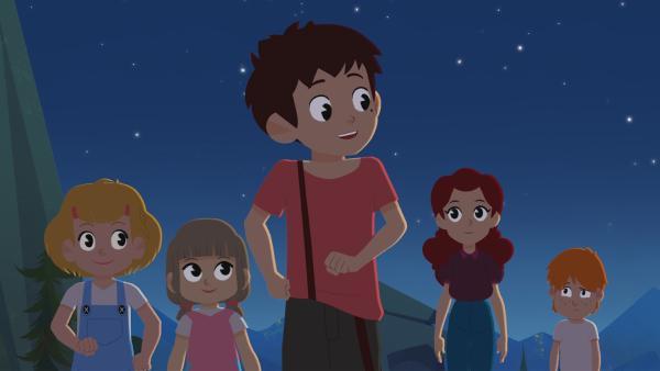Sebastian (Mitte) führt die Sternschnuppen-Expedition an. | Rechte: ZDF/Gaumont Animation