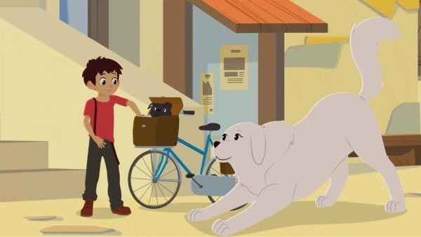 Sebastian und Belle haben einen kleinen Hund aufgegabelt. | Rechte: ZDF/Gaumont Animation