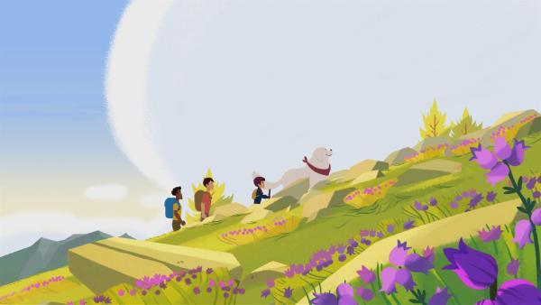 Sebastian übt schon mal, wie es als Bergführer ist. | Rechte: ZDF/Gaumont Animation