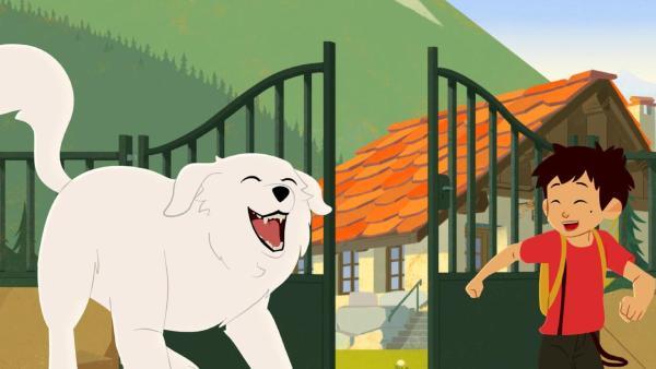 Belle und Sebastian verlassen lachend ein Haus in den Bergen. | Rechte: © 2017 Gaumont Animation, PVP Animation III Inc.- All rights reserved