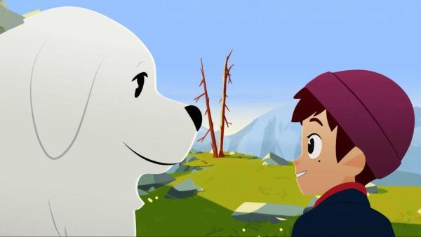 Belle, ein großer weißer Hund, und der Junge Sebastian schließen Freundschaft. | Rechte: © 2017 Gaumont Animation, PVP Animation III Inc.- All rights reserved