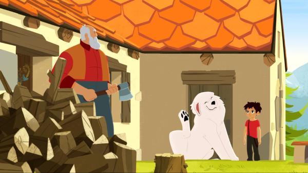Cesar hackt gerade Holz. Belle kratzt sich mit seiner Pfote hinterm Ohr. Sebastian steht neben ihr.   Rechte: © 2017 Gaumont Animation, PVP Animation III Inc.- All rights reserved