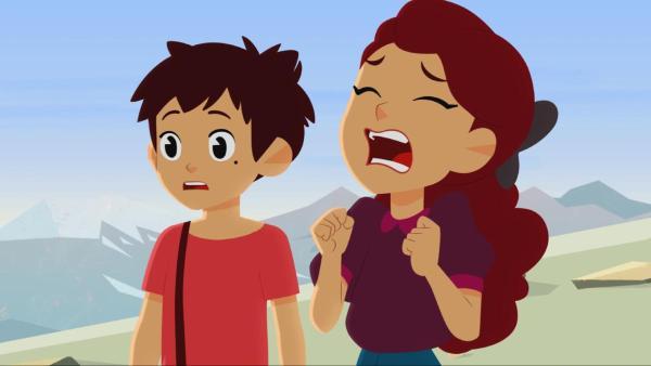 Adèle (rechts) ist wütend und traurig zugleich, weil sie ihr Armband in einer Schlucht verloren hat. Sebastian (links) steht neben ihr.   Rechte: © 2017 Gaumont Animation, PVP Animation III Inc.- All rights reserved