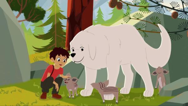 Sebastian und Belle kümmern sich um drei kleine Schweinchen, welche sich um die beiden versammelt haben.  | Rechte: © 2017 Gaumont Animation, PVP Animation III Inc.- All rights reserved