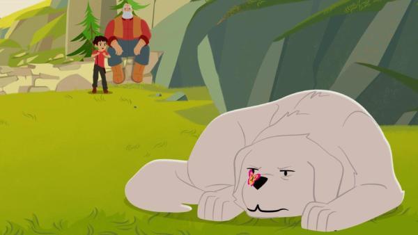 Belle (rechts) liegt auf dem Boden und hat einen Schmetterling auf der Nase. Sie guckt ihn böse an. Im Hintergrund sind Sebastian und Cesar. | Rechte: © 2017 Gaumont Animation, PVP Animation III Inc.- All rights reserved