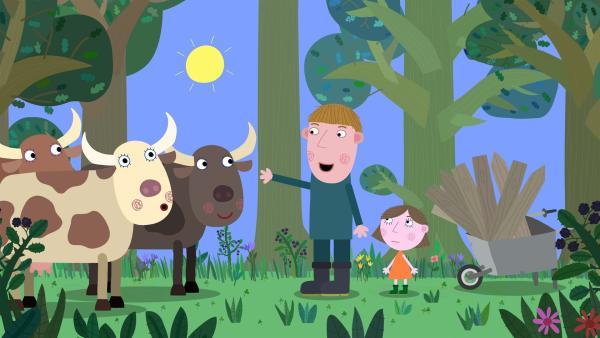 Ausgerechnet auf der Wiese die zum Königreich der Elfen und Feen gehört, will der Bauer Sam seine Kühe grasen lassen.   Rechte: ZDF/Astley Baker Davies Ltd/Rubber Duck Entertainment
