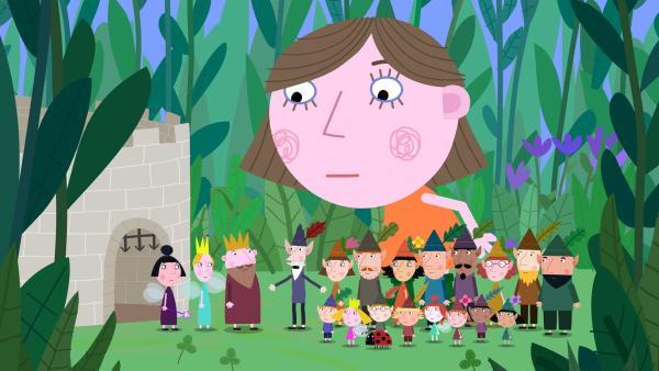 Lucy (groß) und die Elfen und Feen berichten König Aurikel was Lucys Vater vorhat.   Rechte: ZDF/Astley Baker Davies Ltd/Rubber Duck Entertainment