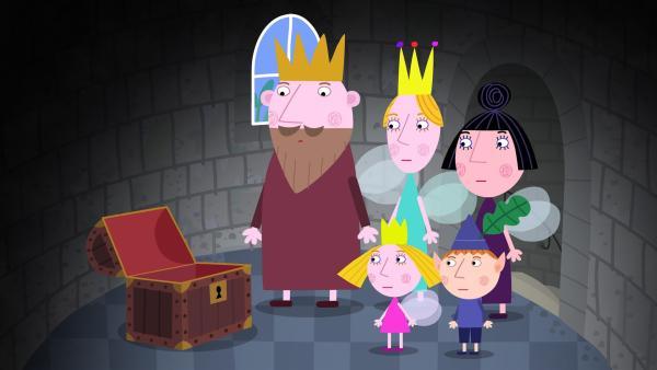 Die Zaubergeldtruhe ist leer. Wovon soll König Aurikel jetzt die Lebensmittel von Mr. Elf bezahlen?    Rechte: ZDF/Astley Baker Davies Ltd/Rubber Duck Entertainment