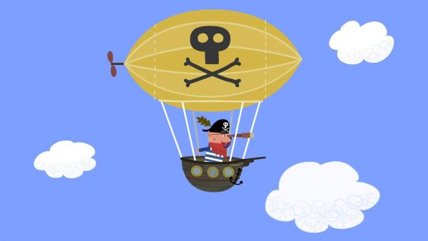 Rotbart, der Elfen-Pirat, ist auf dem Weg in die versunkene Stadt.  | Rechte: ZDF/Astley Baker Davies Ltd/Rubber Duck Entertainment