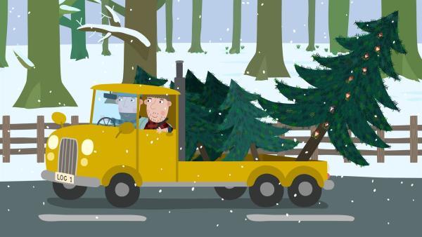 Der große Weihnachtsbaum wurde samt Elfenbewohner gefällt. | Rechte: ZDF/Astley Baker Davies Ltd/Rubber Duck Entertainment