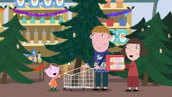 Lucy und ihre Eltern haben den perfekten Weihnachtsbaum gefunden.   Rechte: ZDF/Astley Baker Davies Ltd/Rubber Duck Entertainment