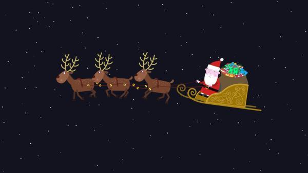 Der Weihnachtsmann macht sich auf den Weg, um die Geschenke an die Kinder zu verteilen.   Rechte: ZDF/Astley Baker Davies Ltd/Rubber Duck Entertainment