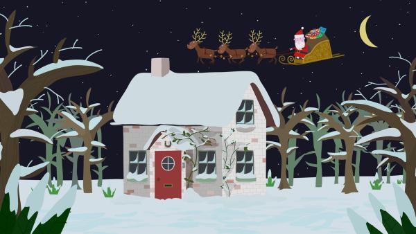 Der Weihnachtsmann ist unterwegs zu Lucy. | Rechte: ZDF/Astley Baker Davies Ltd/Rubber Duck Entertainment