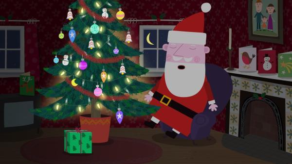 Der Weihnachtsmann ist bei Lucy zu Hause eingeschlafen.   Rechte: ZDF/Astley Baker Davies Ltd/Rubber Duck Entertainment