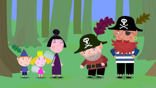 Pirat Rotbart (rechts) stellt Nanny Plum, Ben und Holly seinen Freund Captain Squid vor. | Rechte: ZDF/Astley Baker Davies Ltd/Rubber Duck Entertainment