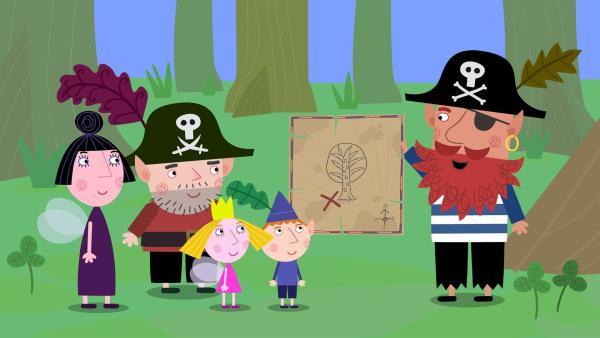 Pirat Rotbart (rechts) zeigt stolz seine Piratenschatzkarte. Nanny Plum (links), Captain Squid (2. von links), Ben und Holly finden diese allerdings nicht besonders beeindruckend. | Rechte: ZDF/Astley Baker Davies Ltd/Rubber Duck Entertainment