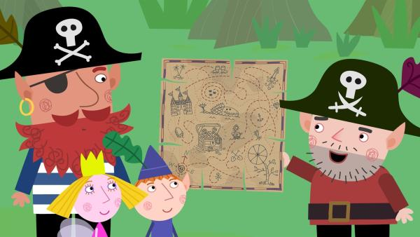 Rotbart (links), Ben und Holly sind beeindruckt von der Piratenschatzkarte von Captain Squid (rechts). | Rechte: ZDF/Astley Baker Davies Ltd/Rubber Duck Entertainment