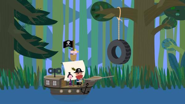 Elfenpirat Rotbart, Nanny Plum, Ben und Holly machen sich auf die Suche nach dem verborgenen Schatz von Captain Squid. | Rechte: ZDF/Astley Baker Davies Ltd/Rubber Duck Entertainment