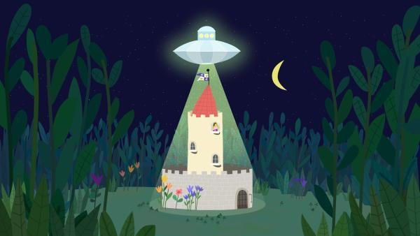 Im kleinen Königreich landet ein Raumschiff. | Rechte: ZDF/Astley Baker Davies Ltd/Rubber Duck Entertainment