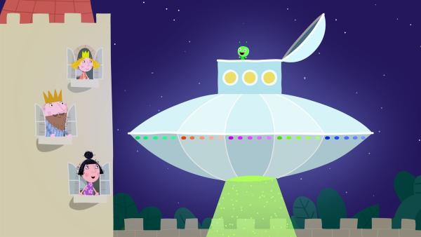 Die Außerirdischen vom Planeten Bong brauchen Hilfe aus dem kleinen Königreich. | Rechte: ZDF/Astley Baker Davies Ltd/Rubber Duck Entertainment