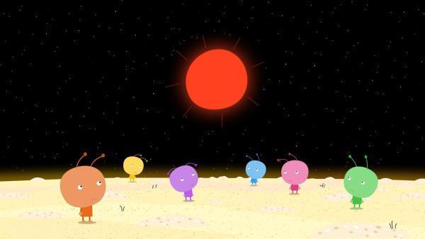 Auf dem Planeten Bong herrscht nun große Trockenheit. Sie erhoffen sich Hilfe aus dem kleinen Königreich. | Rechte: ZDF/Astley Baker Davies Ltd/Rubber Duck Entertainment