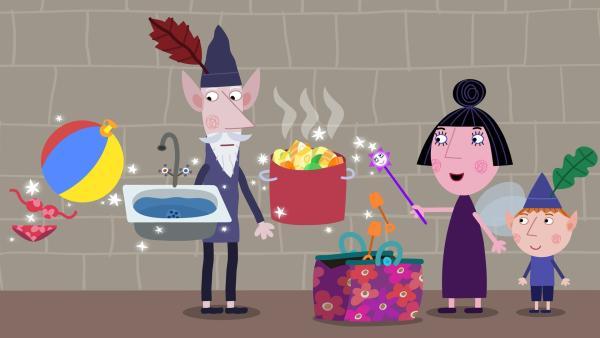 Nanny Plum packt für ihre Reise zum Planeten Bong ihren Zauberkoffer. | Rechte: ZDF/Astley Baker Davies Ltd/Rubber Duck Entertainment