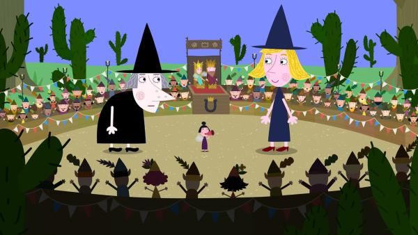Wer darf im kleinen Königreich bleiben: Mrs. Witch, die schon immer dort gelebt hat, oder die neue junge Hexe Wendy Witch? Der Hexen-Wettbewerb soll entscheiden. | Rechte: ZDF/Astley Baker Davies Ltd/Rubber Duck Entertainment