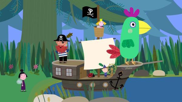Pirat Rotbart begibt sich mit Ben, Holly und Nanny Plum auf die Suche nach dem Schatz am Ende des Regenbogens. | Rechte: ZDF/Astley Baker Davies Ltd/Rubber Duck Entertainment