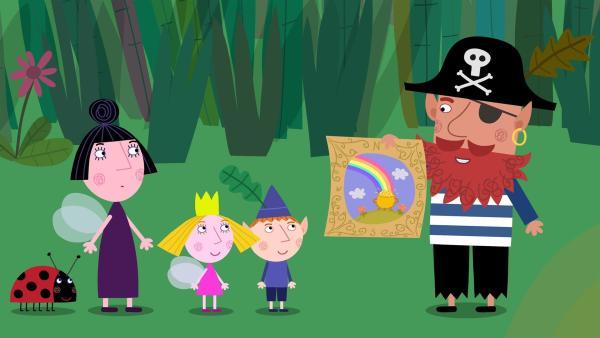 Rotbart zeigt Ben, Holly und Nanny Plum die Schatzkarte eines verborgenen Schatzes am Ende des Regebogens. | Rechte: ZDF/Astley Baker Davies Ltd/Rubber Duck Entertainment