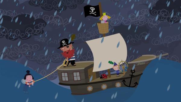 Auf ihrer Reise zum Ende des Regenbogens müssen Rotbart, Ben, Holly und Nanny Plum viele Abenteuer überstehen. | Rechte: ZDF/Astley Baker Davies Ltd/Rubber Duck Entertainment