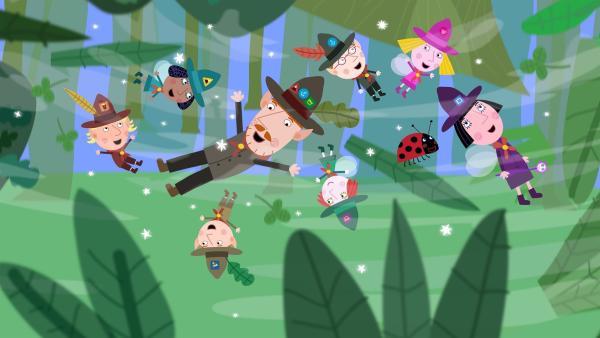 Nanny Plum zaubert Mr. Elf und die Pfadfinder-Kinder zu einem echten Abenteuer. | Rechte: ZDF/Astley Baker Davies Ltd/Rubber Duck Entertainment
