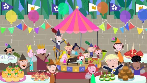 Alles ist vorbereitet für die große Party mit feinem Essen und Musik. Die Stimmung der Gäste ist super. | Rechte: ZDF/Astley Baker Davies Ltd/Rubber Duck Entertainment