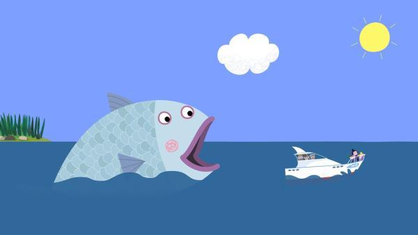Barry, der Fisch, ist hinter dem Boot von Mr. Elf her. Er liebt es, Boote zu fressen. | Rechte: ZDF/Astley Baker Davies Ltd/Rubber Duck Entertainment