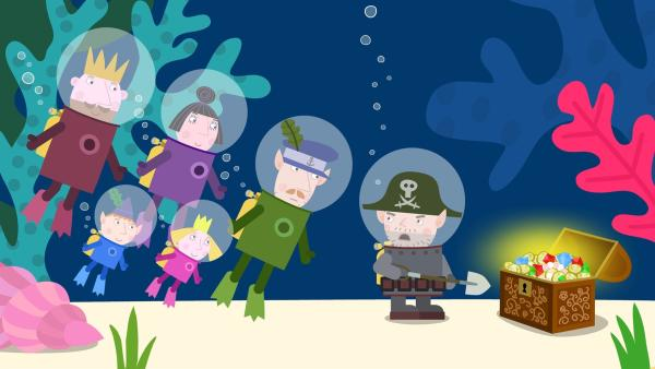 Bei ihrem Tauchausflug treffen König Aurikel, Nanny Plum, Mr. Elf, Ben und Holly auf Captain Squid, der wieder einmal einen Schatz vergraben will. | Rechte: ZDF/Astley Baker Davies Ltd/Rubber Duck Entertainment