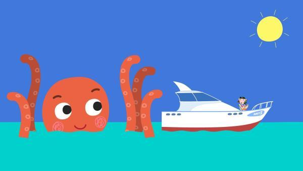 Ein Riesentintenfisch will das Boot verschlingen. Mrs. Elf ist in Gefahr. | Rechte: ZDF/Astley Baker Davies Ltd/Rubber Duck Entertainment