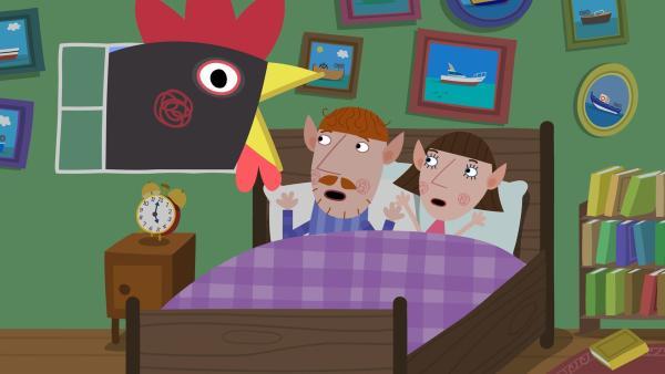 Die Hühner der Elfenfarm sind entlaufen und erschrecken Mr. und Mrs. Elf. | Rechte: ZDF/Astley Baker Davies Ltd/Rubber Duck Entertainment