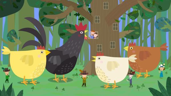 Die Elfen im kleinen Königreich versuchen die entlaufenen Hühner wieder einzufangen. | Rechte: ZDF/Astley Baker Davies Ltd/Rubber Duck Entertainment