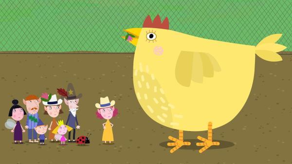 Die Hühner auf der Elfenfarm haben kein Futter mehr und legen daher auch keine Eier. | Rechte: ZDF/Astley Baker Davies Ltd/Rubber Duck Entertainment