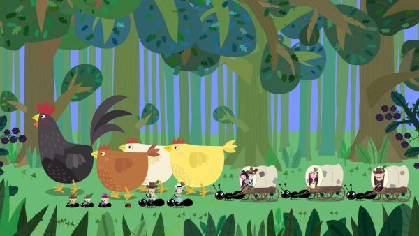 Ganz in Cowboy-Marnier bringen die Elfen und Nanny Plum die Hühner der Elfenfarm zu König Aurikel. | Rechte: ZDF/Astley Baker Davies Ltd/Rubber Duck Entertainment